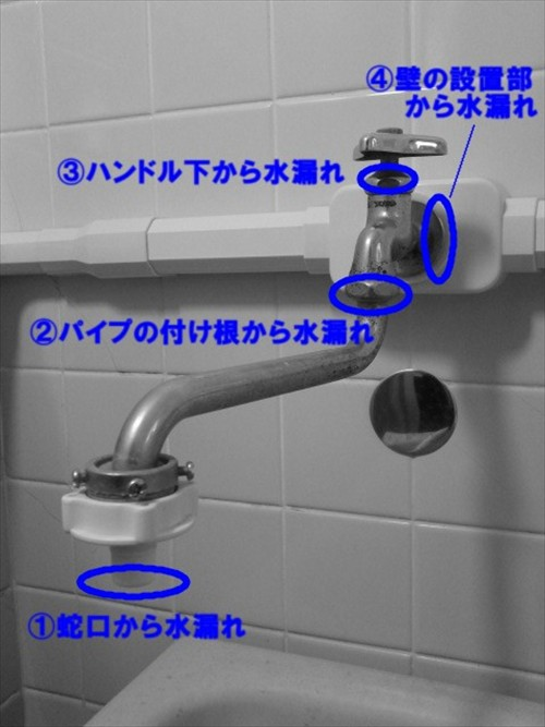 水漏れの場所の違いで修理方法が異なります